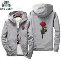 AFS JEEP broderie Rose fleur coupe-vent veste hommes grande taille S-7XL à capuche blouson peau hommes vestes jaqueta masculina