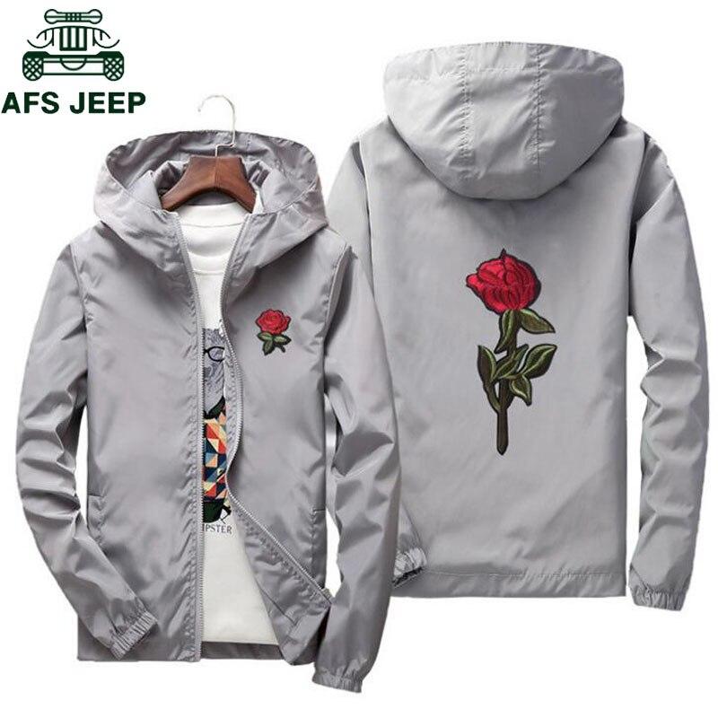 AFS JEEP Embroidery Rose Flower Windbreaker Jacket Men Big Size S-7XL Hooded Bomber Jacket Skin Mens Jackets Jaqueta Masculina