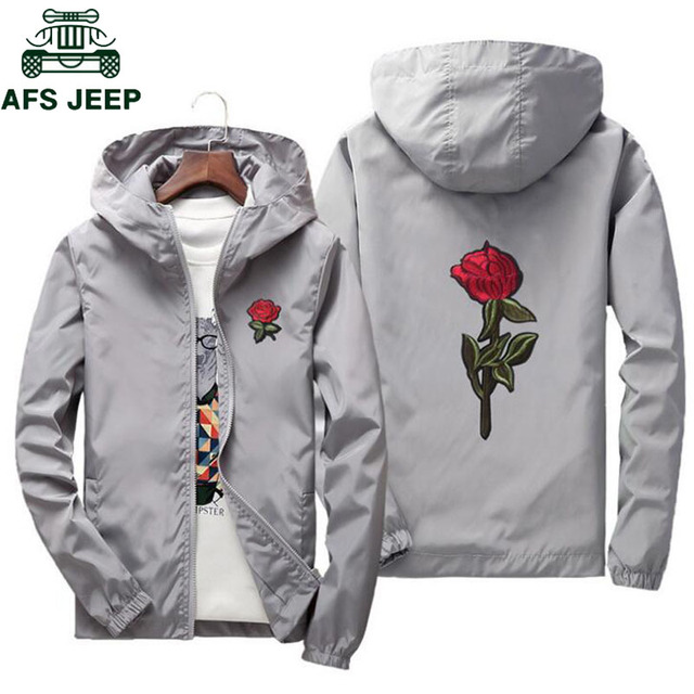 6e7088d6d AFS JEEP Embroidery Rose Flower windbreaker Jacket men Big Size S-7XL Hooded  bomber jacket Skin Mens Jackets jaqueta masculina