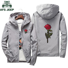 AFS JEEP Embroidery Rose Flower windbreaker Jacket men Big Size S-7XL Hooded bom