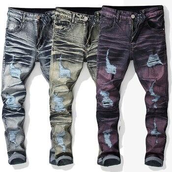 Fashion Mens Jeans Retro Loose Large Size Washed Elastic Crumble Broken Straight Leggings Skinny Denim Jeans Pants Long Trousers