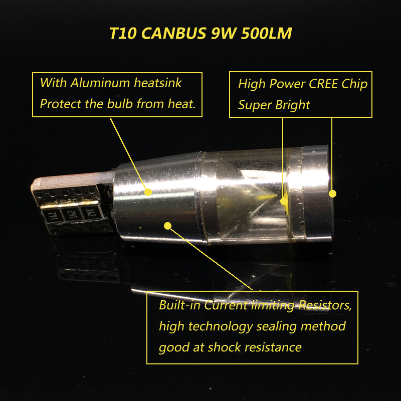2x Canbus No Error 500lm 9W T10 W5W LED Light Chip Motor Car Light Clearance Parking Number Plate Backup Reverse Light in Signal Lamp from Automobiles Motorcycles