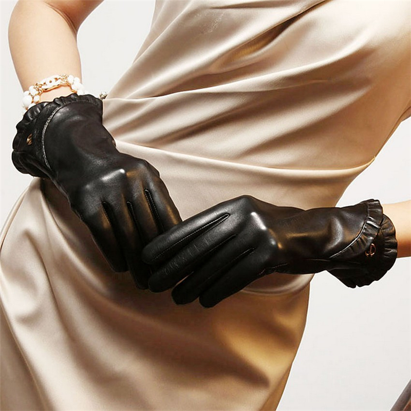 Fashion Women Sheepskin Gloves Autumn Winter Plus Warm Velvet Wrist Lace Genuine Leather Elegant Lady Driving Glove EL007NC in Women 39 s Gloves from Apparel Accessories