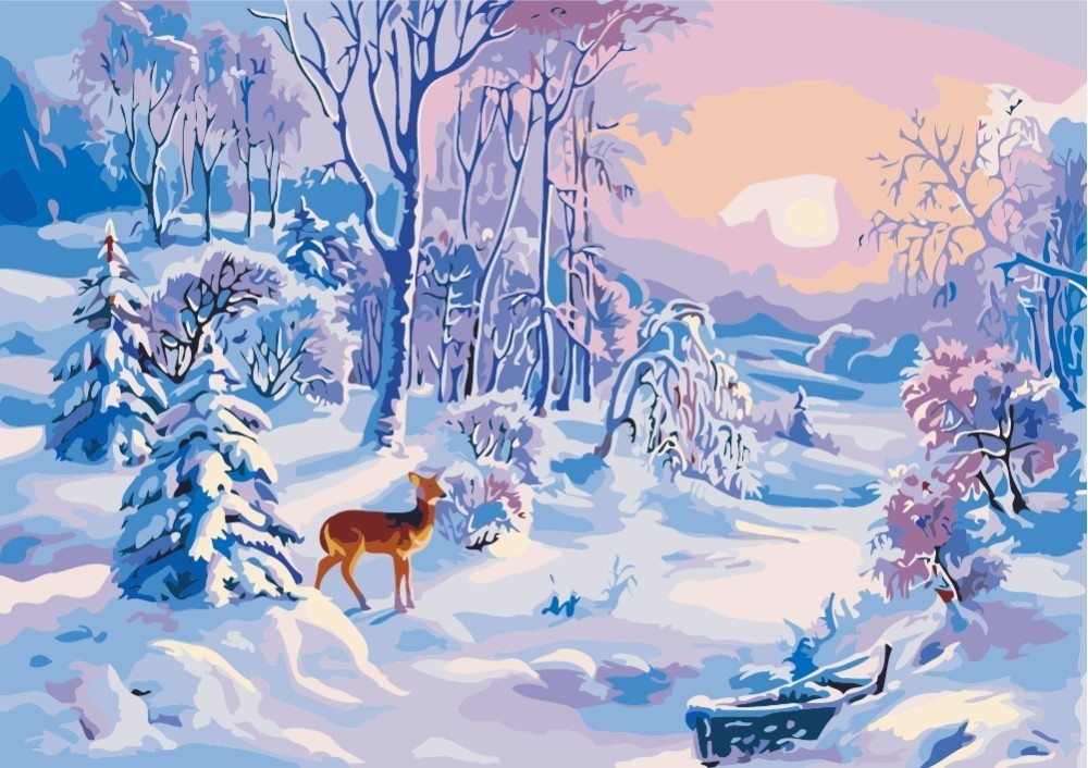 LIPHISFUN Needlework Diamond Painting 5d Landscape Squareround Drill Full Embroidery Home Decoration Snow Deer Cross Stitch