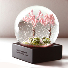 Four Season Crystal Ball Glass Water Snow Globe Spring Pink Cherry Blossoms Summer Purple Flower Autumn Golden Maple Leaf Winter