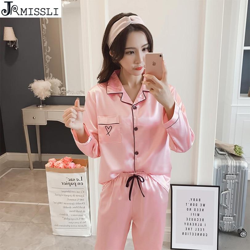 JRMISSLI Satin Sleepwear 2 Pieces Sleep Lounge Women Silk Pajama Set Elegant Pyjama Femme Home Suit Nighty Pijama