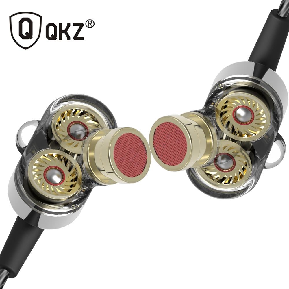QKZ KD2 Earphone fone de ouvido auriculares Dual Driver Extra Bass Turbo Wide Sound gaming headset mp3 DJ go pro auricular