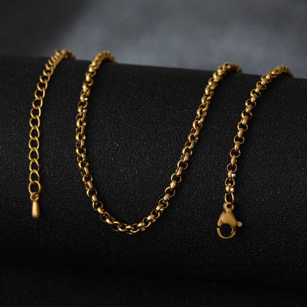 真空メッキシルバーゴールドローズゴールド充填ネックレス縁石チェーンリンクメンズステンレススチールチェーンブレスレット男性女性アクセサリー