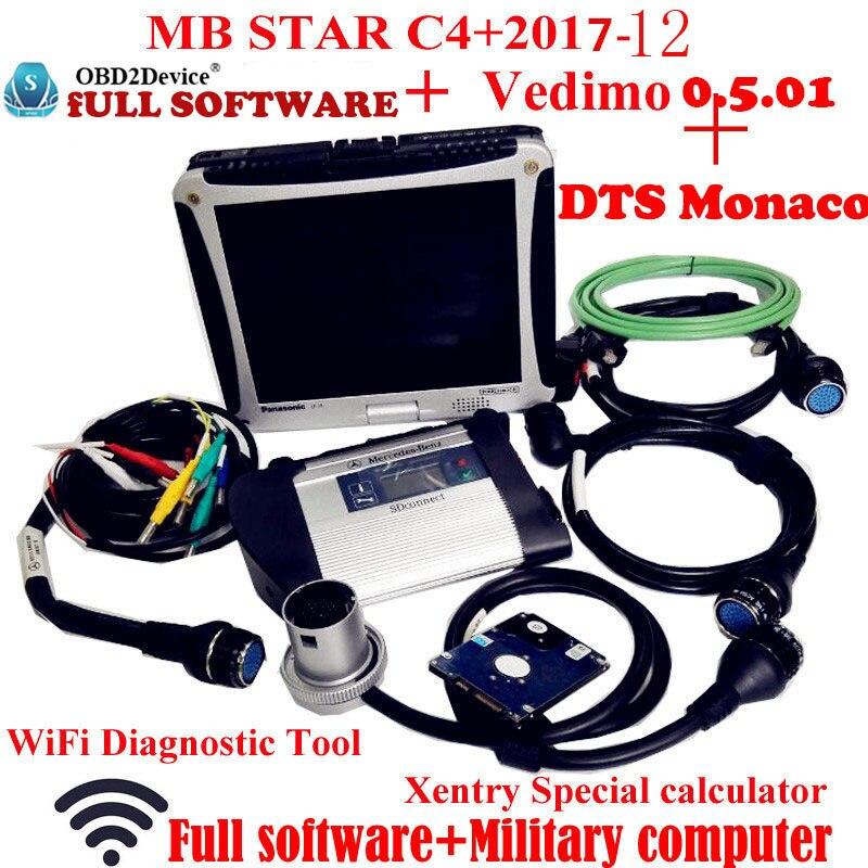 Top Qualité Mb Étoile C4 2017-12 Vediamo + DTS Travail pour Mercedes Star Diagnostic avec Panasonic CF19 Portable travail pour Voiture et camion