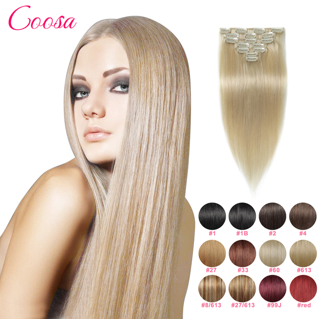 Natural Hair Clip Extensions Ins Silky Straight Remy Clip In Hair