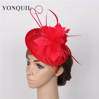 Wedding Feather Flower Fascinator Base Hat For Women Ostrich Quill Adorn Party Hair Band Church DIY