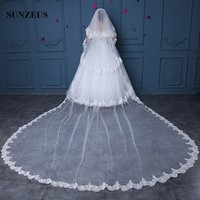 Lace Edge Wedding Veils 2 Layer Long Cathedral Bridal Veil With Comb Ivory mantillas for church Free Shipping WV071
