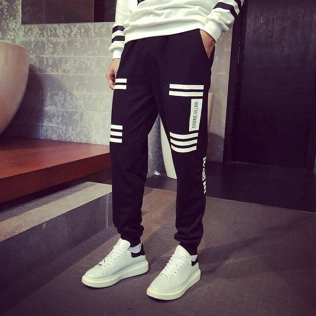 Новая Мода Мужские Бегунов Случайные Тренировочные брюки Для Мужчин Jogger Брюки Тощий Черный Белый Шаровары Мужчины Брюки Плюс Размер