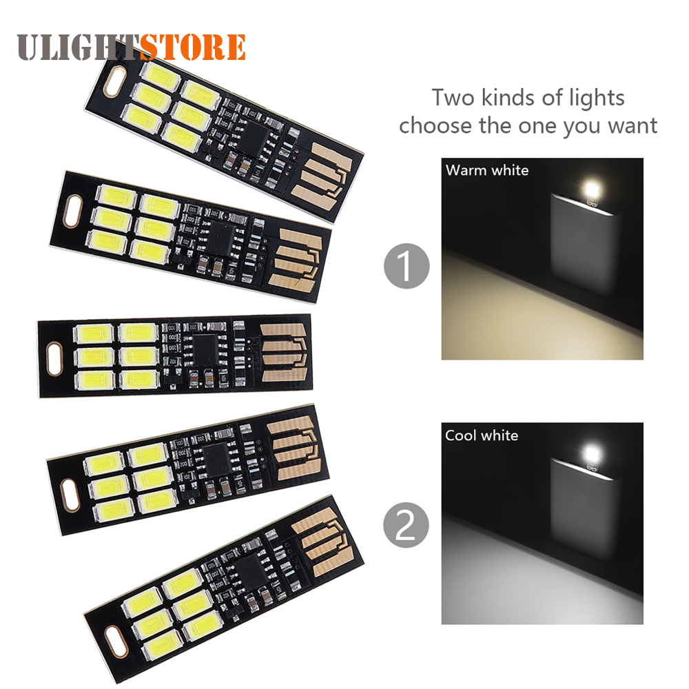 5pcs! Mini Portable USB Power 6 LED Night Light Touch Dimmer Pocket Card Lamp for Power Bank Mobile Charger PC Laptop Notebook prime 40140029 fashion creative usb flexible led lamp for tablets laptop pc power bank