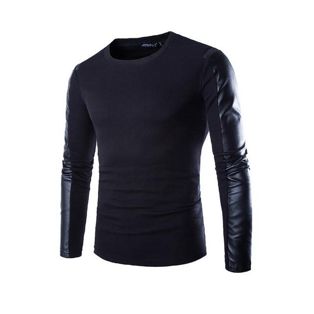 2015 New Arrival T Shirt Men Long Sleeve Spring Fashion Mens Black Pu Leather Tshirt Casual Brand Slim fit  T-shirt Xxl