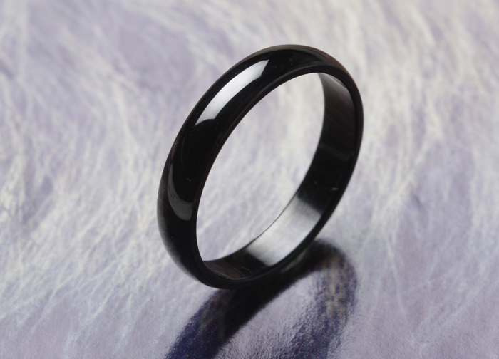 free shipping Wide Wholesale from yiwu 4mm Pure black rings 316L Stainless Steel finger ring for women jewelry wholesale