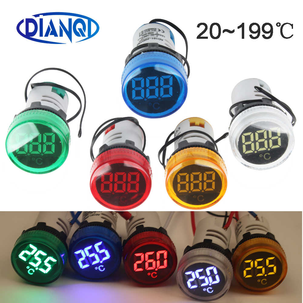 22mm Mini plastic LED digital thermometer  20-199 Celsius 50-380V AC Blue Red White Yellow Green pilot light temperature meter