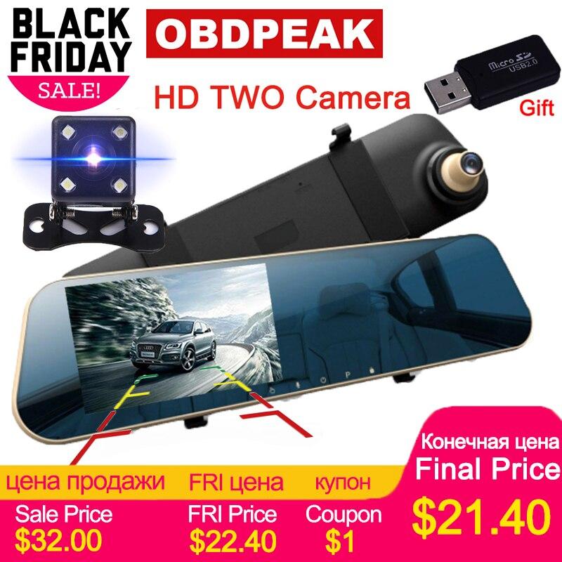 Auto DVR 1080 p Dual kameras rück 4,3 zoll HD Auto kamera spiegel Dash cam Auto Registrator rekord Automatische abdeckung dual objektiv