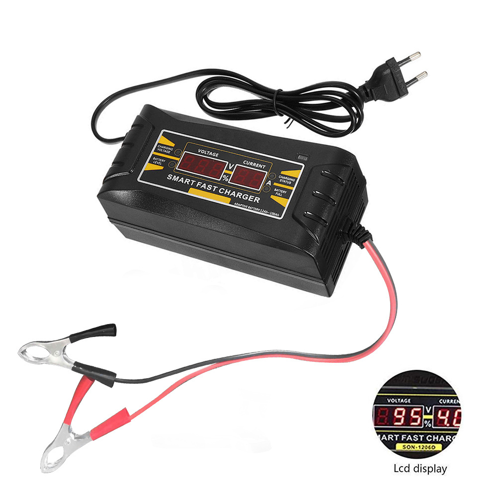 <font><b>12V</b></font> 10A EU/US 110-240V AC Input Automatic Smart <font><b>Battery</b></font> <font><b>Charger</b></font> for Dry Wet Gel Lead Acid <font><b>Battery</b></font> Car <font><b>Battery</b></font> <font><b>Charger</b></font> image