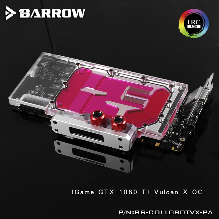 Barrow LRC RGB v1/v2 Full Cover Graphics Card Water Cooling Block BS-COI1080TVX-PA for Colorful IGame1080TI Vulcan X OC computador cooling fan replacement for msi twin frozr ii r7770 hd 7770 n460 n560 gtx graphics video card fans pld08010s12hh