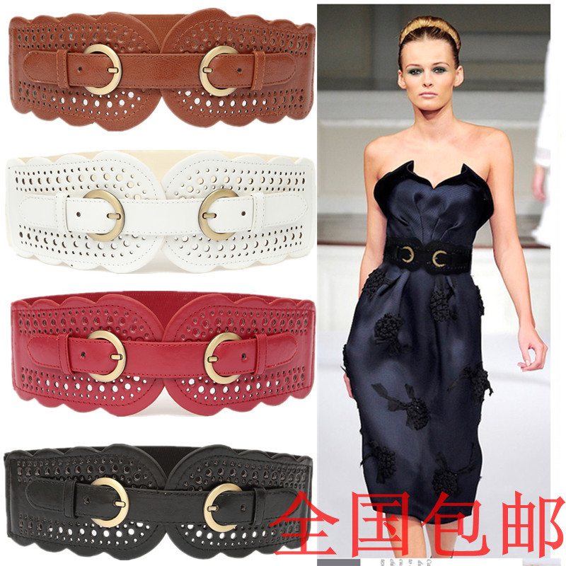 New Cummerbunds Belt Edition Bowknot   Restoring Ancient Ways Joker Elastic Sealing Hollow Out Fashion Women