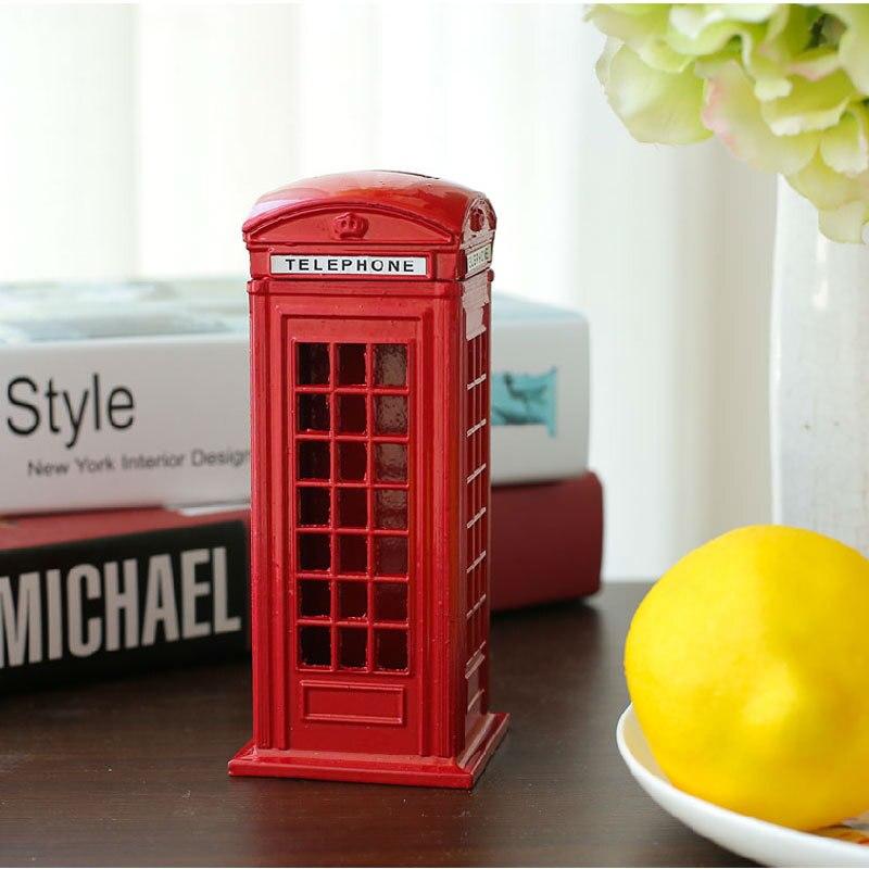 Britannique En Métal D'alliage D'argent Coin Spare Change Piggy London Street Rouge Téléphone Booth Banque Souvenir Cadeau
