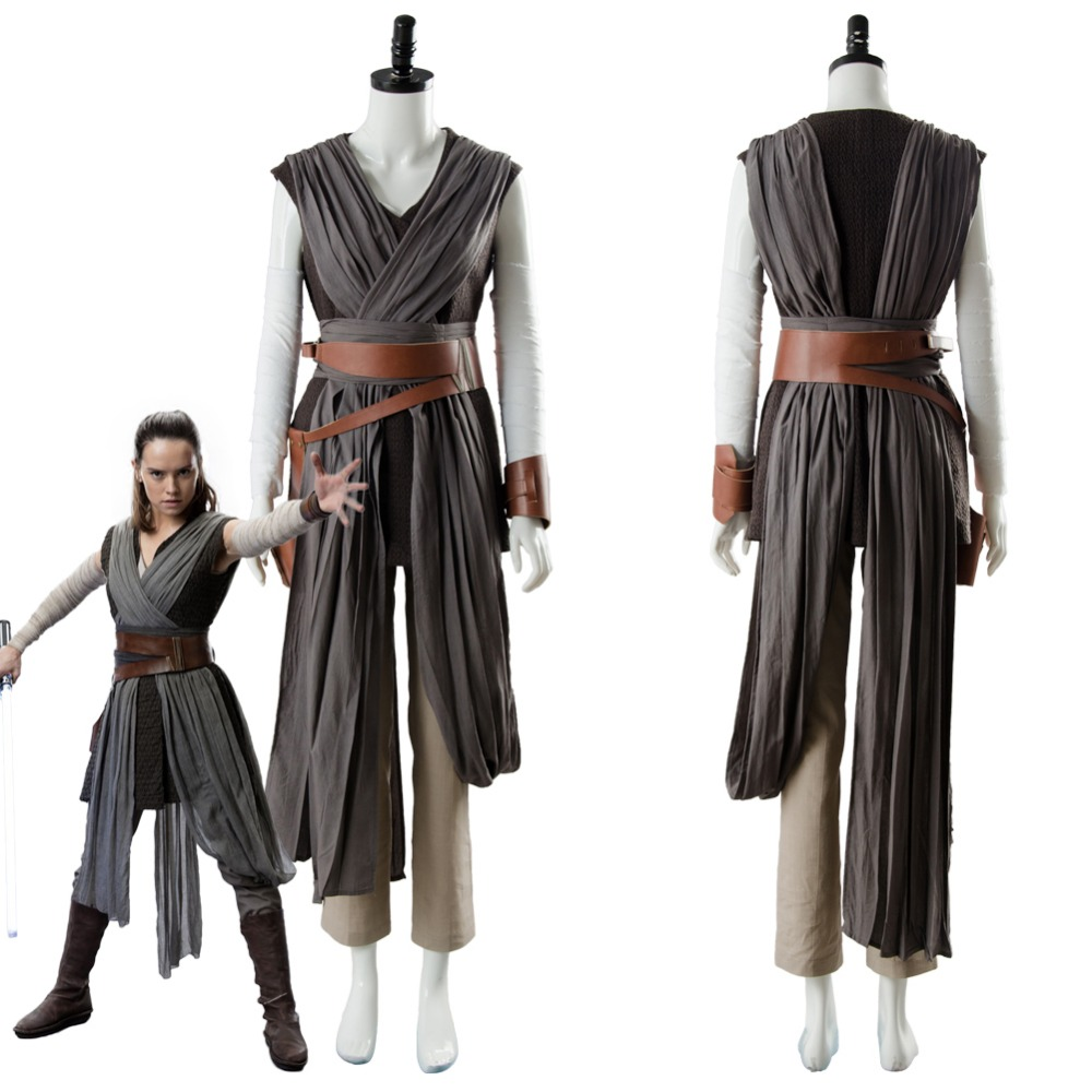 Star Cosplay Wars 8 The Last Jedi Rey Costume For Adult Women Halloween Carnival Costumes Custom Made