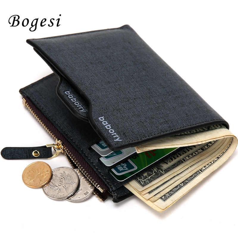 2017 Hot Moda homens carteiras Bifold Wallet ID titular do Cartão Bolsa Da Moeda Da Embreagem Bolsos com zíper Homens Carteira Com Moeda saco Do Presente