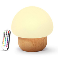 Soft Silicone wooden lamp with USB LED Mushroom for Baby Night Lights|LED Night Lights| |  -