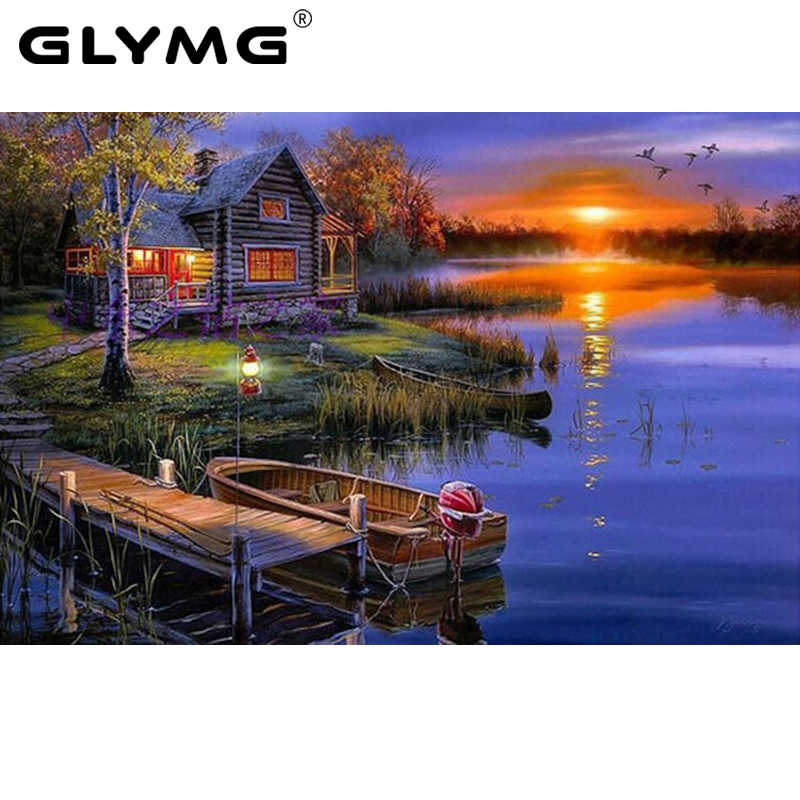 GLymg Handicraft DIY Diamond Painting Cross Stitch Sunset Landscape Lake House Diamond Embroidery Home Full Drill Home Decor