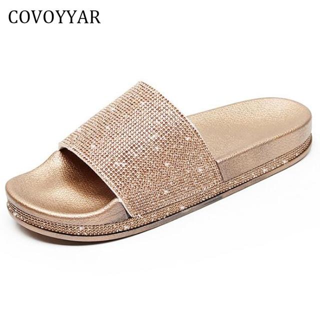 0311eedfc7 COVOYYAR 2019 Luxo Strass Mulheres Plataforma Senhora Sandálias Da Moda  Chinelos de Verão Não-deslizamento