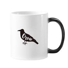 Crow Black And White Animal Morphing Heat Sensitive Changing Color Mug Cup Gift Milk Coffee With Handles 350 ml mug lefard 350 ml with deer