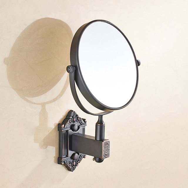 Copper Bathroom Mirror Wall Mounted Rotating Folding Vanity Hotel Double Sided