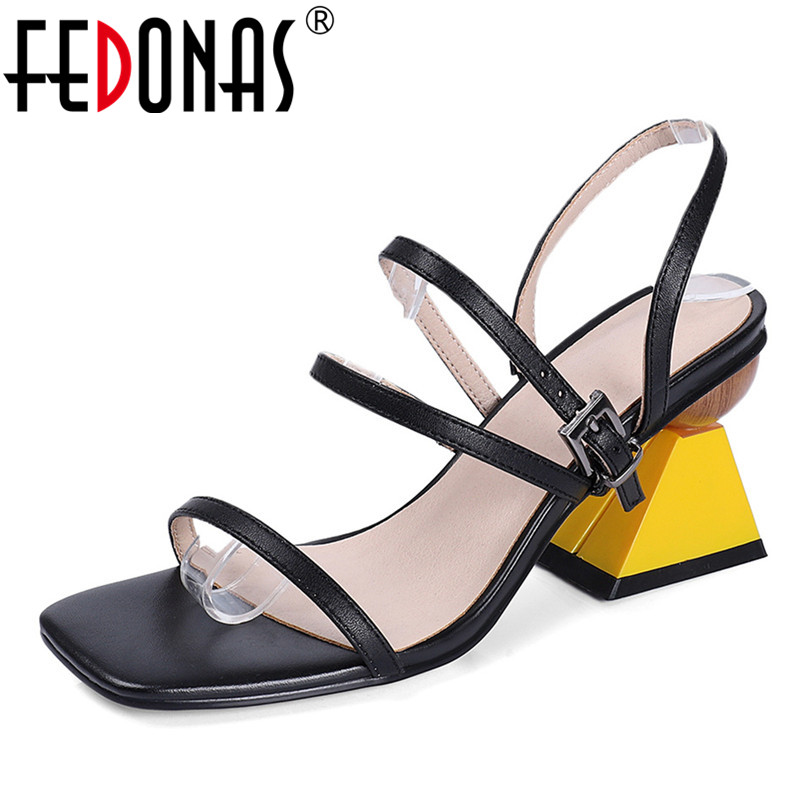FEDONAS 2019 New Fashion Mixed Colors Women Sandals Genuine Leather High Heels Summer Square Toe Party