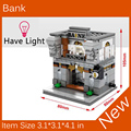 2017 New Mini Street View Building Block Bank Have Light Compatible With Legoes City Toys SD6508 Christmas gift
