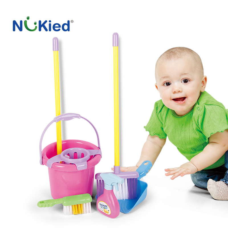 NUKied Kids Simulation Classic Pretend Play Housework Cleaning Security Toy Early Educational Broom With Mop Set Toy