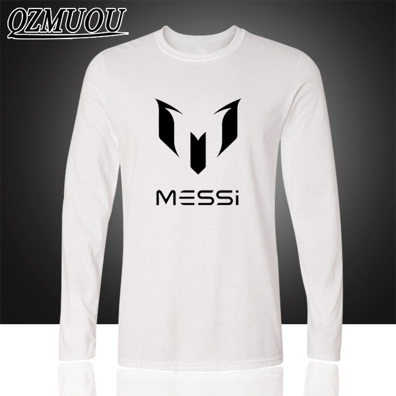 패션 바르셀로나의 라이오넬 MESSI 마크 MESSI 바르셀로나 코튼 라운드 칼라 레저 레저 긴팔 티셔츠 남자 티셔츠와 긴 소매