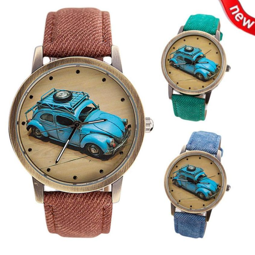 Concise Fashion Men And Women Retro Car Pattern Denim Twill Strap Watch  Men Military Sport Quartz Watches Brand Luxury Male Concise Fashion Men And Women Retro Car Pattern Denim Twill Strap Watch  Men Military Sport Quartz Watches Brand Luxury Male
