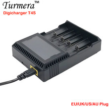 Charger 18650 T4S Battery Charger LCD Smart Charging for 18650 21700 14500 16340 26650 12V DC(China)
