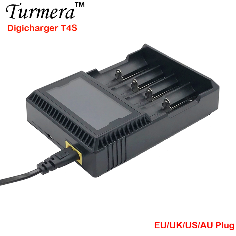 Charger 18650 T4S Battery Charger LCD Smart Charging for 18650 21700 14500 16340 26650 12V DC