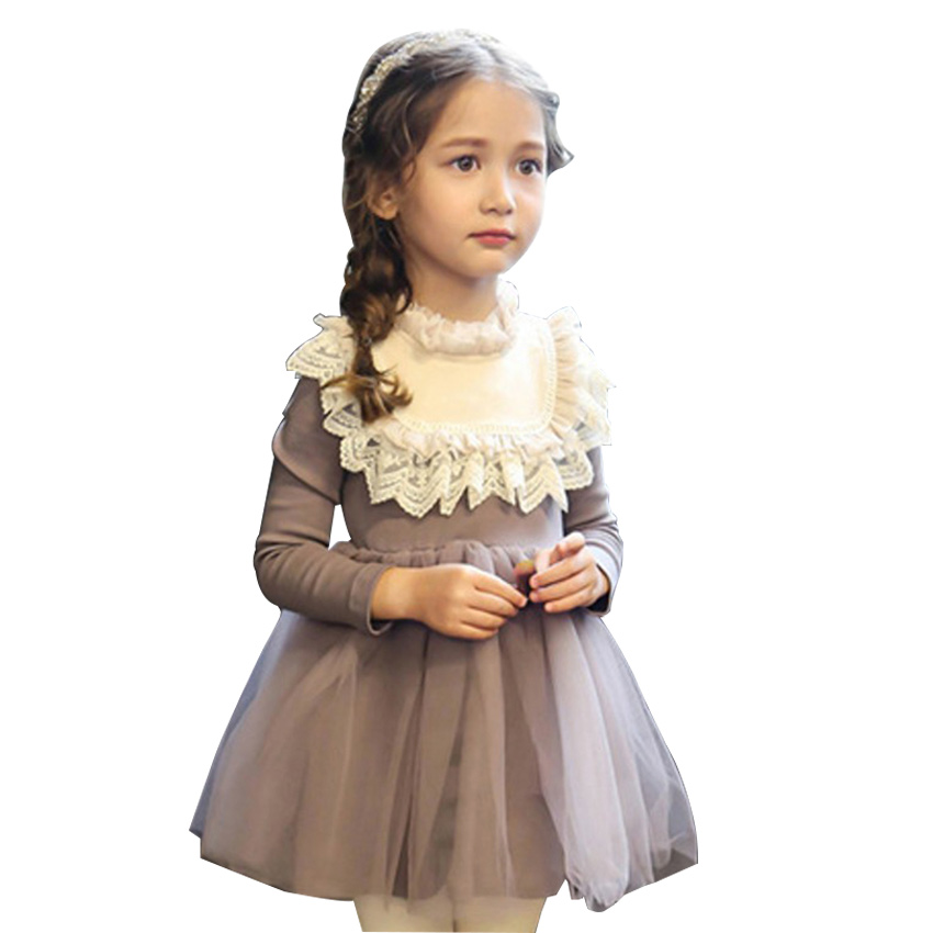 Thickening Baby Girl Princess Lace Dress Winter Vestido Meninas 2017 Autumn New Girls Cotton Long-sleeved Knitting Vintage Dress  fashion 2017 spring autumn new girls cotton knitting dress hat 2 piece thickening baby girl princess dress winter kids clothes