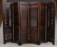 Chinese Decorative Handmade Wood Carved Flowers Hollow Out Screen