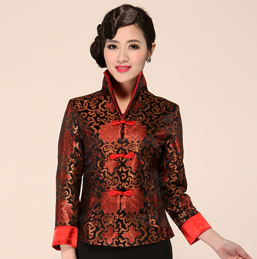 c304b6d44 Black Red Chinese Women Formal Clothing Mandarin Collar Satin Jacket  Vintage Handmade Button Coat Flower M L XL XXL 3XL 4XL
