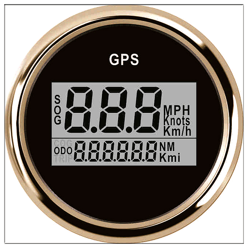 52mm Digital car speedometer GPS Odometer LCD display Mile Per Hour knots Meter For Boat With Back light 12 V 24 V 100% brand new gps speedometer 60knots for auto boat with gps antenna white color