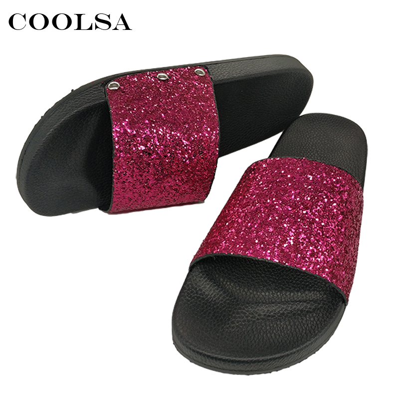 125d0285d COOLSA New Summer Women Flip Flop Bling Slippers Sparkling Sequins PU Flat  Non Slip Slides Home Slipper Lady Casual Beach Sandal-in Slippers from  Shoes on ...