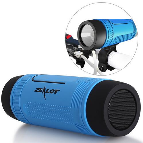 Zealot S1 Bluetooth Speaker Portable Subwoofer Power Bank Rechargeable with LED light for Outdoor Sport+Bicycle Mounting Bracket