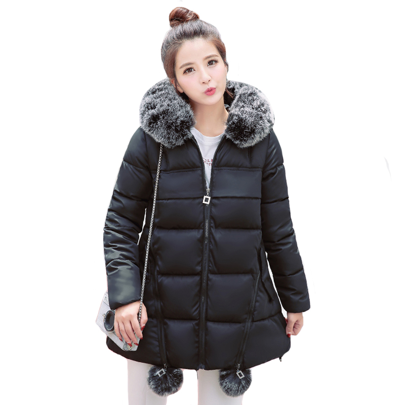 With Two Fur Balls 2019 New Design Winter Jacket Women With Fur Hooded Long Female Coat Outwear Padded Warm   Parka   Abrigo Mujer