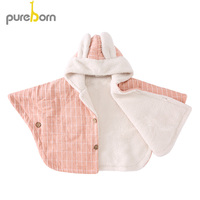 Pureborn Baby Girl Fleece Hooded Cloak Classic Striped Baby Boy Toddler Hoodie Poncho Thick Snowsuit Winter Kids Clothing