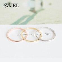 SMJEL Neue Mode Einfache Dünne Dünne Stapeln Bague Femme Die Petite Finger Kreis Runde Dünne Ringe für Frauen Hochzeit Geschenke r213