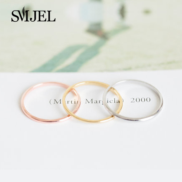 SMJEL New Fashion Simple Slim Thin Stacking Bague Femme The Petite Finger Circle